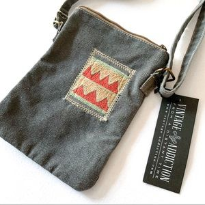 Vintage Addiction Patch Embroidered Crossbody Bag